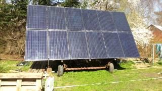 Solar tracker homemade off grid DIY, 9Kw solar array, 5Kva Inverter with 3xKw MPPT tracker, 48V620Ah