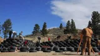 Wyoming Earthship Build - April, 2010 [tire work]