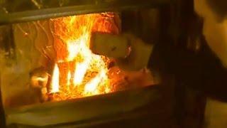 Homemade Biofuel Briquettes. Burning.