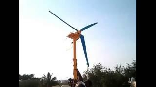 Homemade DIY PVC Wind Turbine Generator Running