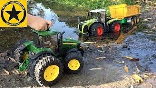 BRUDER Toy TRACTOR John Deere COWGIRL MUD RESCUE!