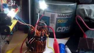 Joule thief powered by garden light solar panel