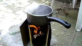 Boiling water for coffee with my wood gas stove