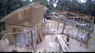 Net Zero Energy house, framing. Super cool architecture.