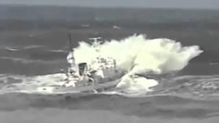 SHIP TAKES ON HUGE WAVES