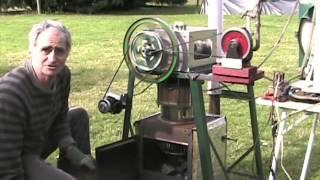 Demonstration of a wood burning Stirling engine.