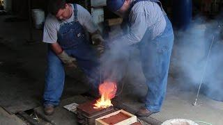 Pouring Molten Brass: Backyard Molding and Foundry Work