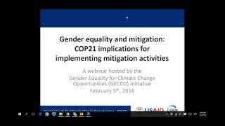 Gender equality & mitigation   COP21 implications for implementing mitigation activities1454684540