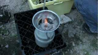 Trennzelle betreibt Campinggas Brenner mit H2 - seperation cell runs campinggas stove with H2