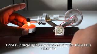 Hot Air Stirling-Engine Electricity Power Generator with 4Blue LED 1500RPM Education/Teaching 2014