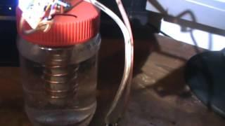 Joule Thief powered by water battery.