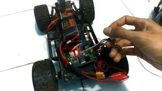 Testing modul of (CCM6N5 PWM DC MOTOR CONTROLLER SPEED & DIRECTION) in secondhand RC car chasis