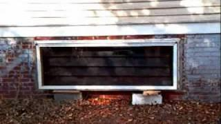 Passive solar horizontal crawl space heater, solar energy, recycled materials
