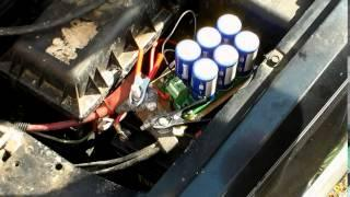 Boost module test using a small lead acid lawn mower battery