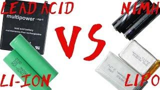 Battery Type Comparison || Lead Acid VS NiMH VS Li-Ion VS LiPo