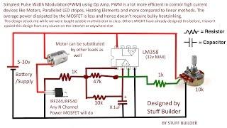How to build the simplest PWM(Pulse Width Modulated) DC Motor Speed controller using Op Amp