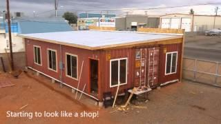 Shipping Container Building by Lake Powell Paddleboards in Page, AZ