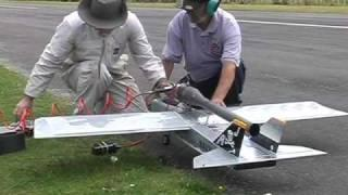 Pulsejet powered World Models TameCat RC plane, maiden flight