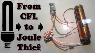 How to make joule thief from cfl simple step by step