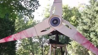 Homemade Wind Generator Built from Ceiling Fan, Demo