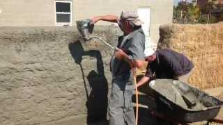 Straw Bale Wall- Stucco