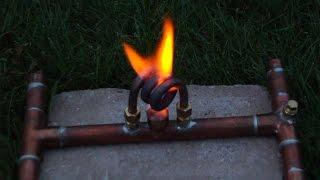 """The Acosta"" - Copper Coil Alcohol Stove - Flame Test 1"