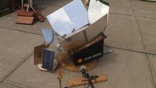 Sun oven with do it yourself self powered solar tracker