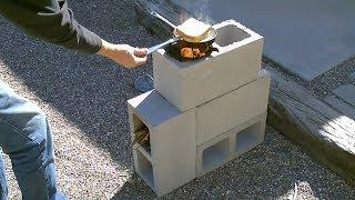 "The ""4 Block"" Rocket Stove! - DIY Rocket Stove - (Concrete/Cinder Block Rocket Stove) - Simple DIY"