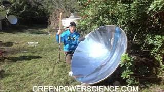 Parabolic adjustable death ray greenpowerscience 40 feet destruction
