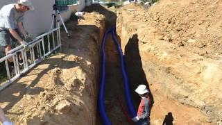 Underground earth tubes: air cooling or heating / geothermal ventilation for passive house
