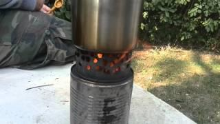 Selfmade Wood Gas Stove - Outdoor Teatime On A Windy Day