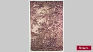 Antique French vertical woven tapestry of forest scene