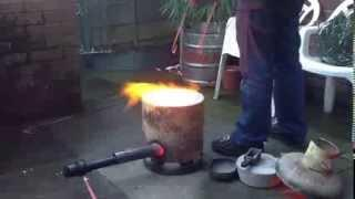 Backyard foundry making copper ingots