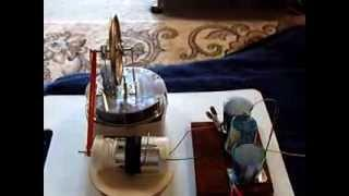 LTD Stirling Engine driving my Pill Bottle Electrostatic Generator