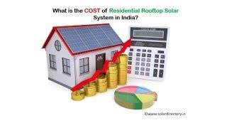 What is cost of rooftop solar system for home in India