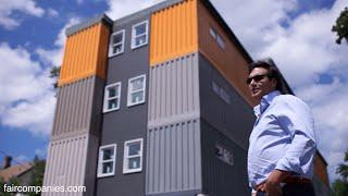 "Stacked cargo containers in New Haven's ""LEGO"" apartments"