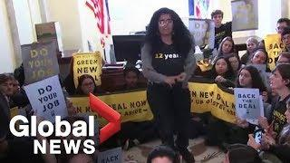 Student climate change demonstrators removed from Capitol Hill