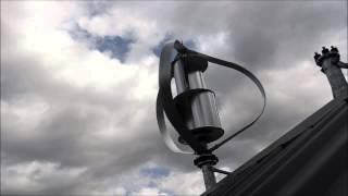 Close up footage of MagLev 600w Vertical Axis Wind Turbine