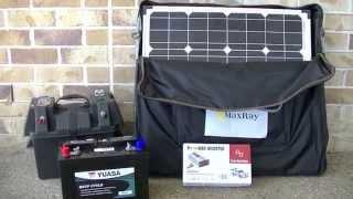Portable SOLAR PANEL SETUP for CAMPING or Caravan with Battery, Power Battery Box and Power Inverter