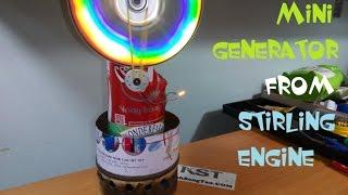 Mini generator from stirling engine
