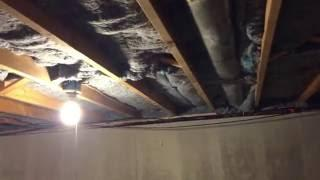 Installing Denim Insulation in a Natick MA Basement Ceiling