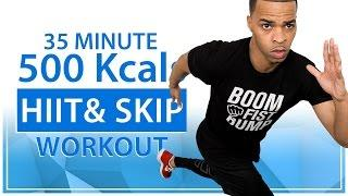 35 Minute Jump Rope, HIIT, Strength & Toning Total Body Rapid Fat Burning 500 Calorie Home Workout