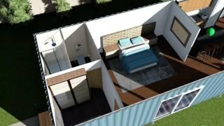 shipping container home floor plans render / animation