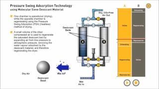 Pressure Swing Adsorption. Compressed Air drying & Nitrogen generation (Animation)