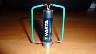 Батарейка, рамка, постоянный магнит-вращение. Battery, frame, Homopolar Motor. Rotation