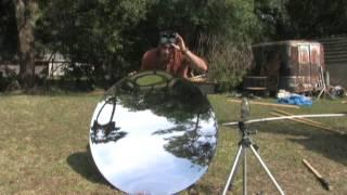 "46"" PARABOLIC MIRROR STEAM BOILER SOLAR POWER STEEL WOLL NANOPARTICE GreenPowerScience"