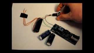 The Super Capacitor Based 30kv Taser Stun Gun Prototype - Fast Rechargeable - 5.3v to 30kv.wmv
