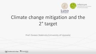 Climate change mitigation and the 2° target - Prof. Doreen Stabinsky