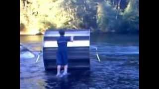Hydrokinetic, Alternative Energy,  Floating Water Sprocket, Prototype #3 2003, First Field Test
