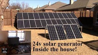 24v solar generator inside, 400w in solar panels on DIY backyard stand